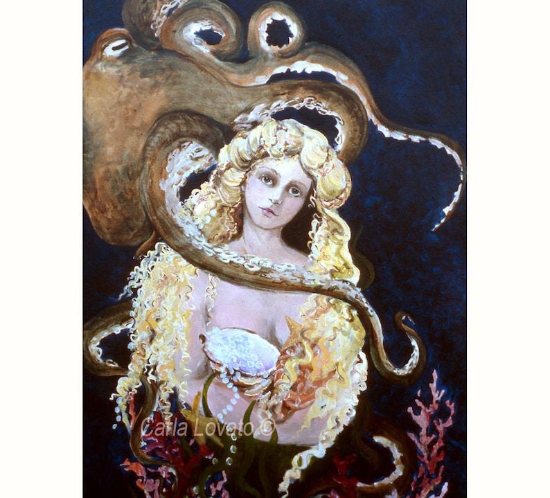 Mermaid Painting Octopus painting giclee print Goddess of image 0