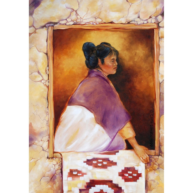 Native American Oil painting Hopi maiden large Giclee image 0