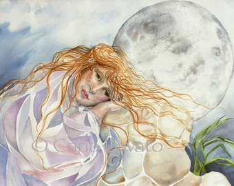 Moon Goddess, moon painting, fantasy painting, moon landscape, Woman waiting for the moon, woman portrait, watercolor painting