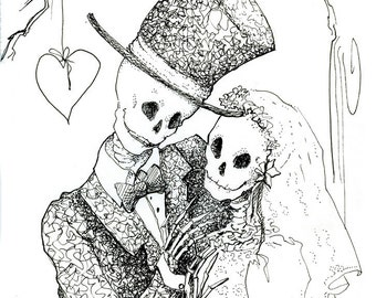 Pen and ink drawing, skeleton wedding, halloween wedding, Day of the Dead, Giclee Print, skeleton Bride,  Steampunk groom,  gothic valentine