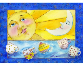 Sun and moon, Coffee cups, giclee print, Ready to Frame, celestial decor, childs room, Matted for 11x14,