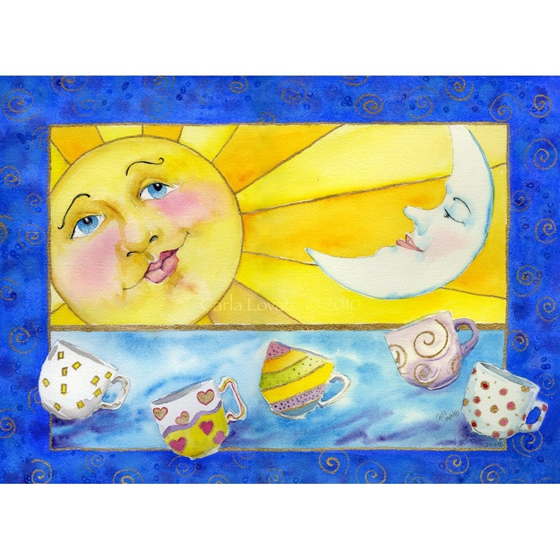 Sun and moon Coffee cups giclee print Ready to Frame image 0