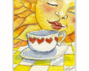 Sun Painting, Watercolor, Sun face, Coffee Cup, matted for 8x10,  Giclee Print, Nursery Art, celestial decor, childs art, Ready to Frame