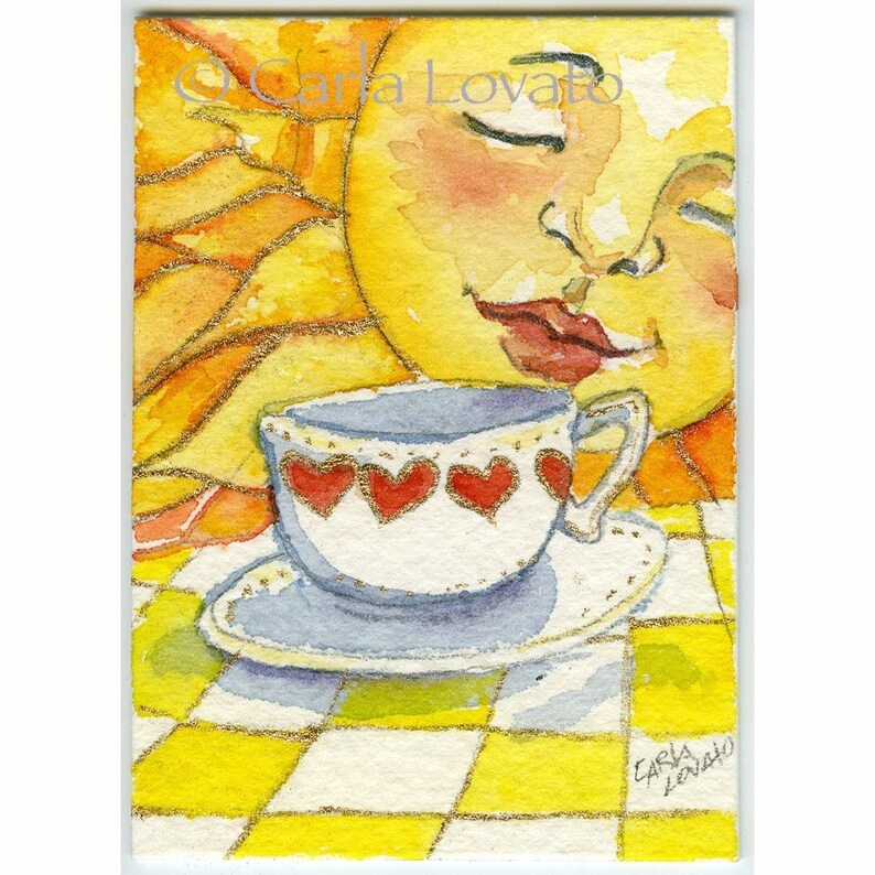 Sun face Watercolor Painting Sunshine face Coffee cup 5 x image 0