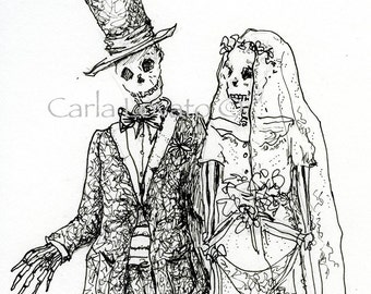Skeleton Wedding, Pen and Ink drawing, Halloween wedding, skeleton bride, day of the dead, Giclee print, gothic wedding,