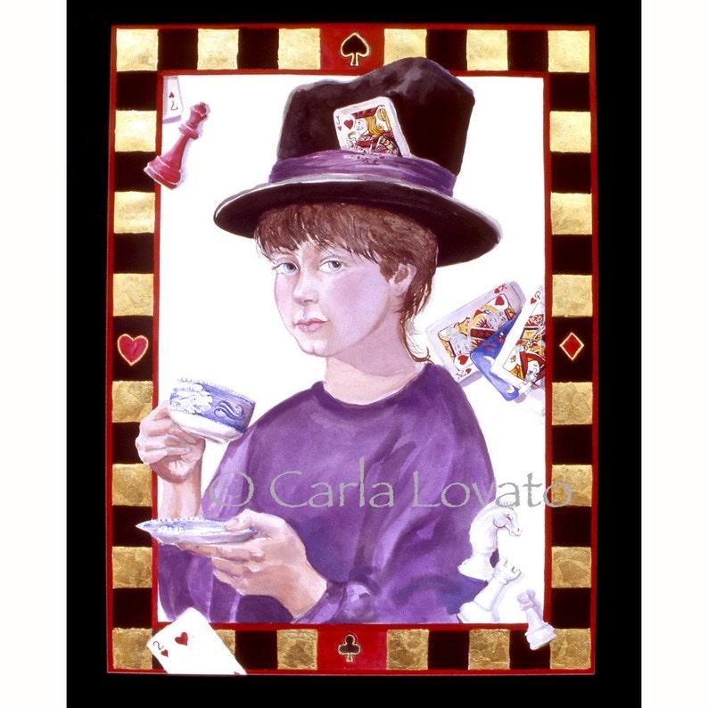 Alice in Wonderland Watercolor painting 8 x 10 giclee print image 0