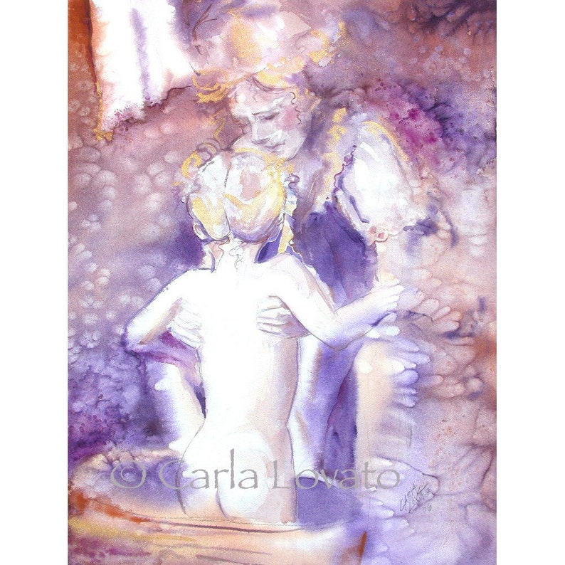 Mother and Child Watercolor painting  Greeting Card image 0