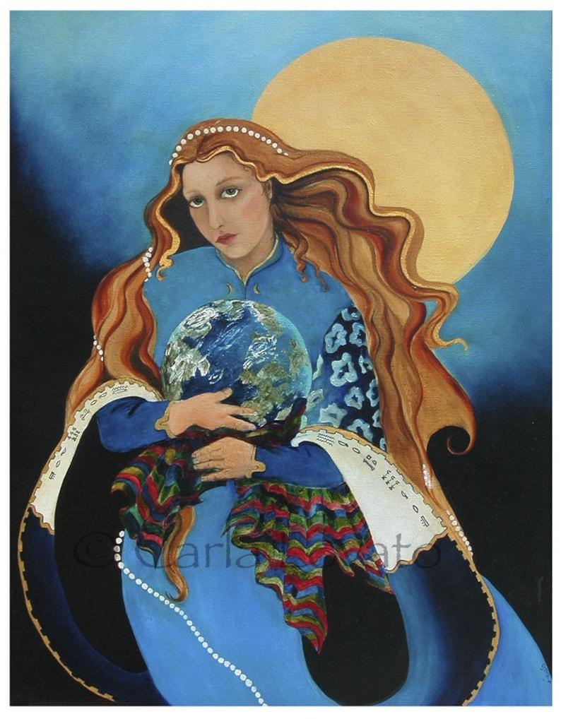 Goddess Art Mother Earth Goddess oil Painting Giclee Print image 0