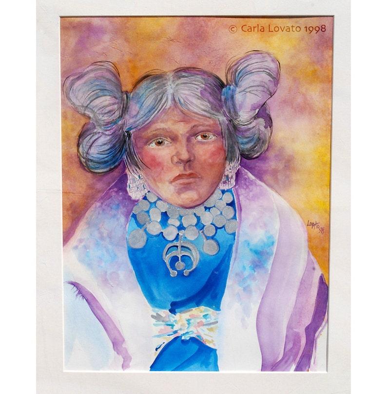 Original Painting Native American watercolor Portrait Hopi image 0