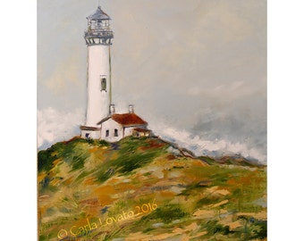 Lighthouse Painting, Original painting, oil on canvas, Yaquina lighthouse, Lighthouse decor, Ocean seascape, Oregon coast, Costal art, beach