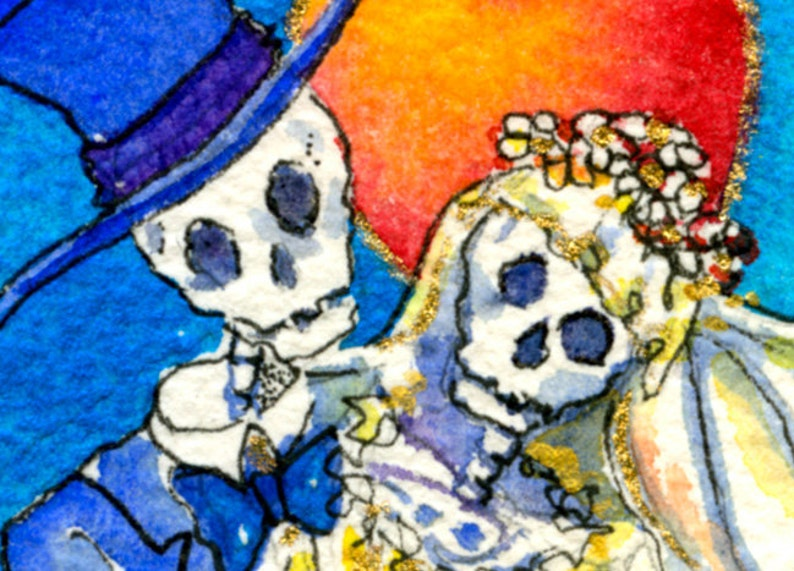 Day of the dead Wedding Skeleton Bride and Groom ACEO image 0