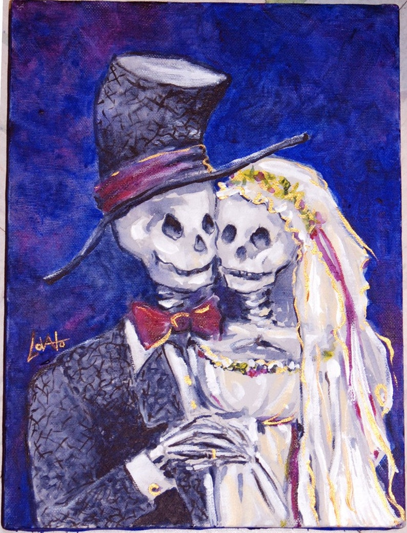 Acrylic painting Skeleton Day of the Dead Wedding Giclee image 0