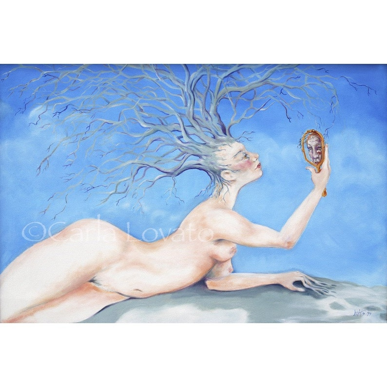 Tree Goddess Surreal Oil painting 5 x 7 Giclee Print image 0