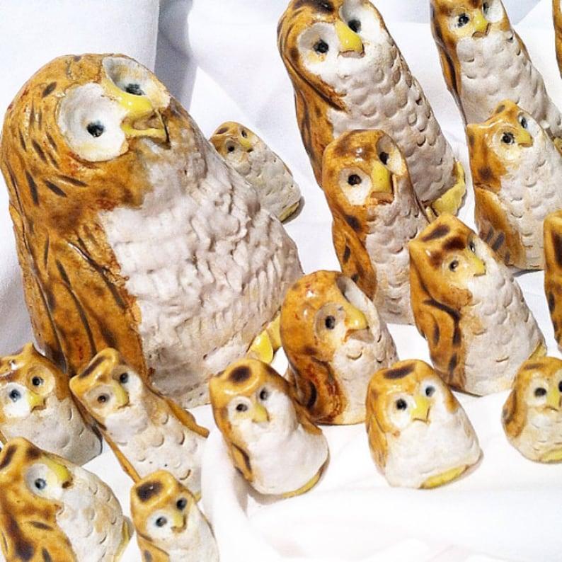 Cute owls Owl decor tiny owls woodland owls ceramic image 0