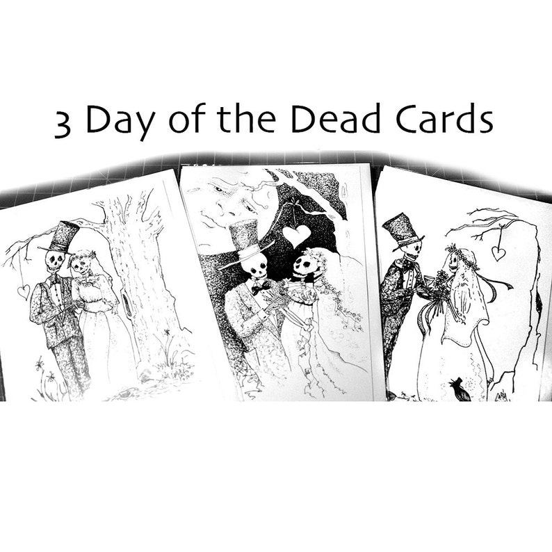Skeleton wedding Day of the Dead Pen and Ink Drawing 5 x 7 image 0