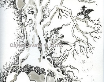 Pen and Ink Drawing, original drawing, Tree spirit, Fairy drawing, fantasy ink illustration, trees,