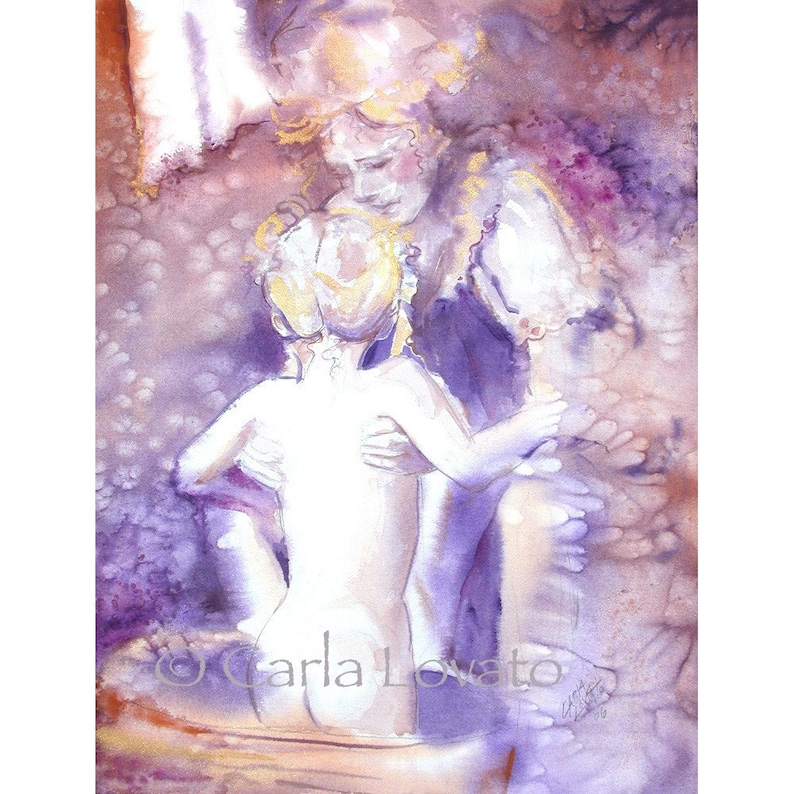 Mother and child Nursery decor baby bath family art Giclee image 0