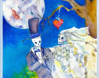Watercolor Painting, Skeleton Wedding, Day of the Dead, Giclee print, Bride and Groom Gift, Halloween wedding,
