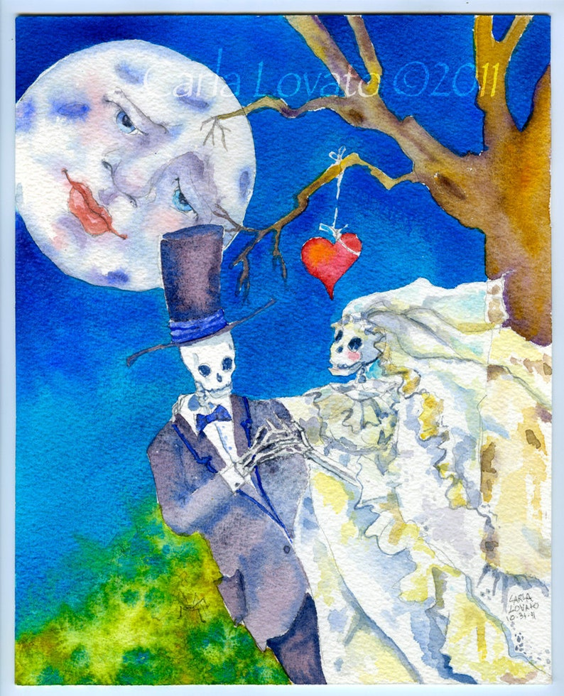 Watercolor Painting Skeleton Wedding Day of the Dead Giclee image 0