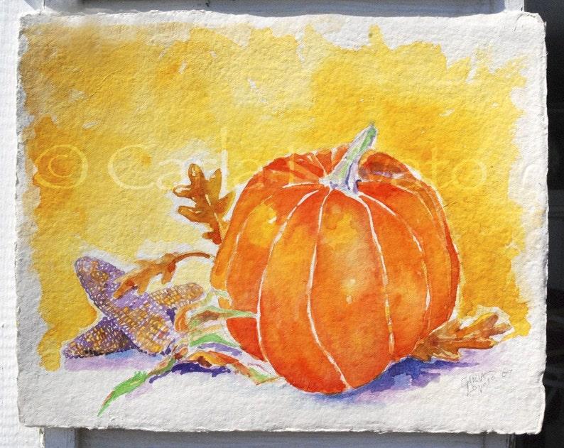 Pumpkin Painting Original Watercolor still life Autumn image 0