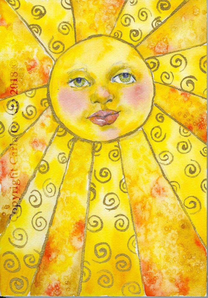Sun face Sun face wall art 8x10 Giclee Print sun face image 0