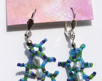 Mermaid Earrings glass beads and pearls  in teal and green Dangle style