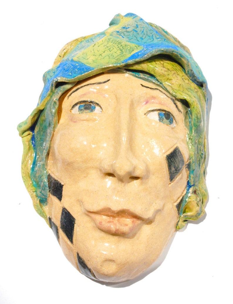 Ceramic mask Wall Sculpture Tarot fool Carnival art image 0