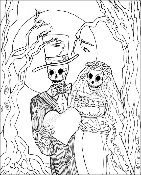 coloring pages, Skeleton Wedding, Color Page, Day of the Dead, digital  downloaded, digital color page, adult coloring, Skeleton Bride