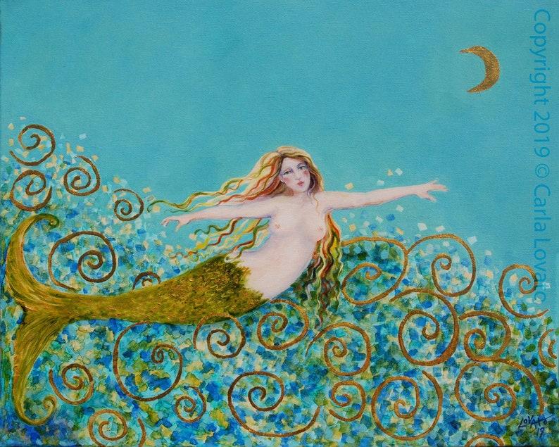 Mermaid Painting Nude mermaid Nautical Art  8 x 10 inches image 0