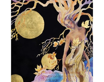 Goddess Painting, Tree Woman, mother earth, tree spirit, watercolor painting, 8 x 10 Giclee Print, Tree spirit, spiritual decor, celtic art,