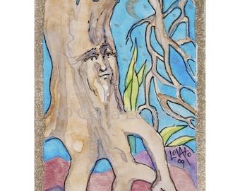 Tree Spirit, watercolor painting, original, ACEO Original, miniature Painting, Tiny painting, Nature painting, tiny watercolor, fantasy