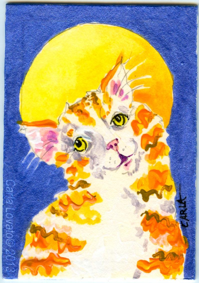 Cat Painting Original Acrylic painting Folk Art  ACEO size image 0