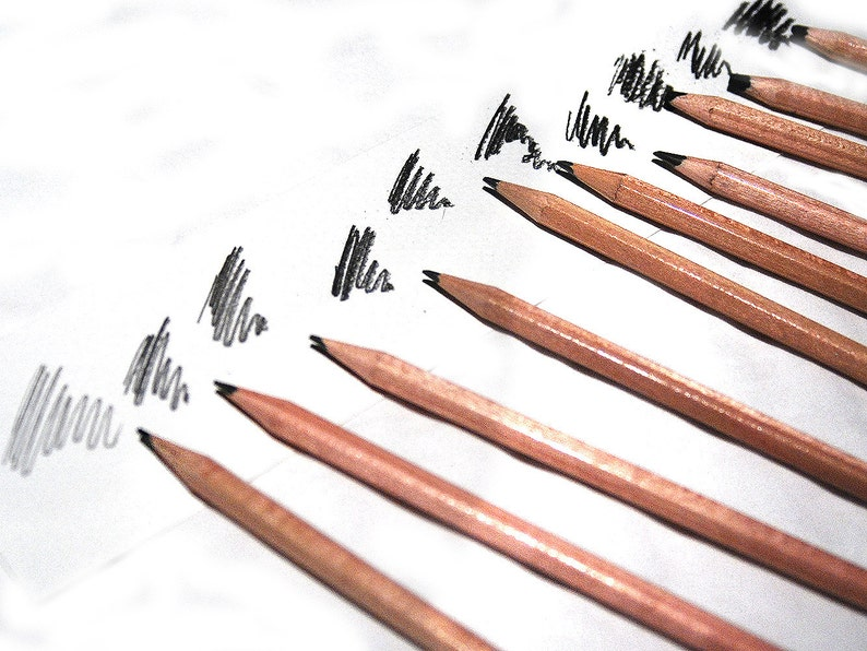 Drawing media sketching pencils Drawing pencils Set of 10 pencils Artist gift Graphite and charcoal