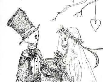 Skeleton wedding, Day of the dead, Blank, greeting card,  gothic valentine, halloween wedding