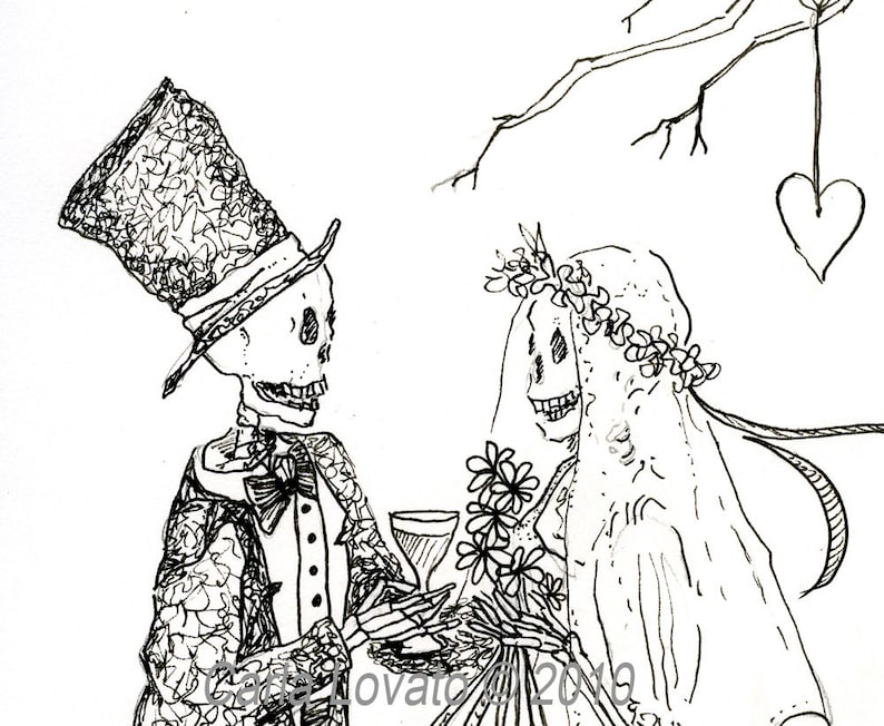 Skeleton wedding Day of the dead Blank greeting card image 0