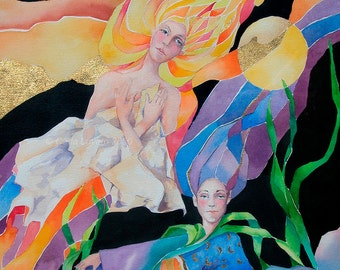 Watercolor painting, Goddess Art, Spiritual painting, Fine art, Giclee Print, 5 x 7, Women Painting, Fantasy Painting