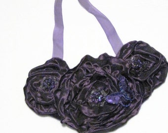 Purple Bib Statement Necklace Flower Bib Necklace Purple Necklace