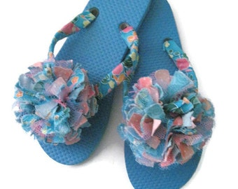 169f2f68ad1fc Decorated Flip Flops Pink Blue Flower Boho Festival Party Wedding Summer