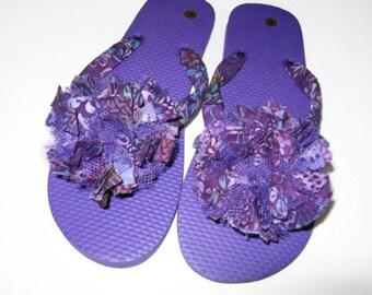 89141c96e Purple flip flops Decorated Fabric Floral Beach Pool