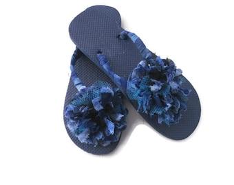 b615d0229482b5 Blue Floral Flip Flops Decorated Flip Flops Flower Flip Flops