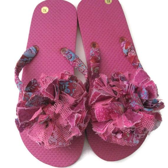 Decorated Flip Flops Mauve Pink Pool Beach Summer