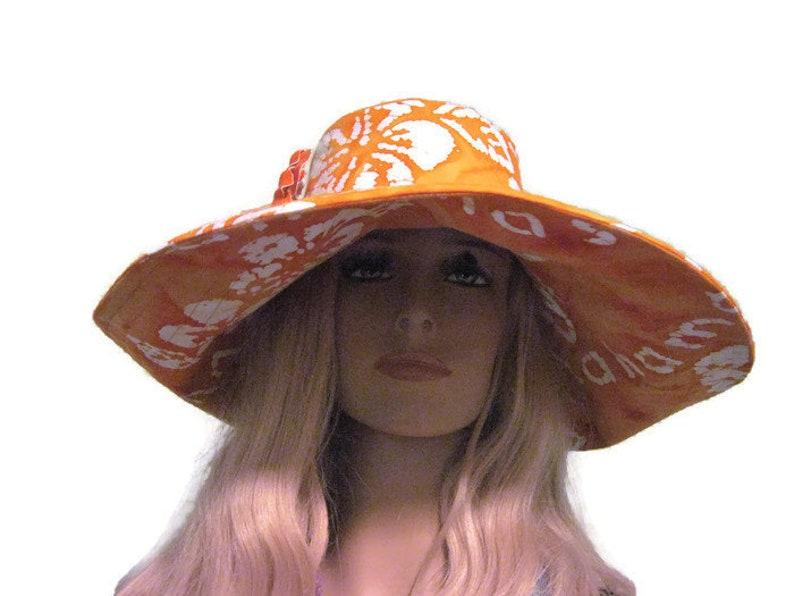 Orange White Tropical Flower Print Wide Brim Sun Hat