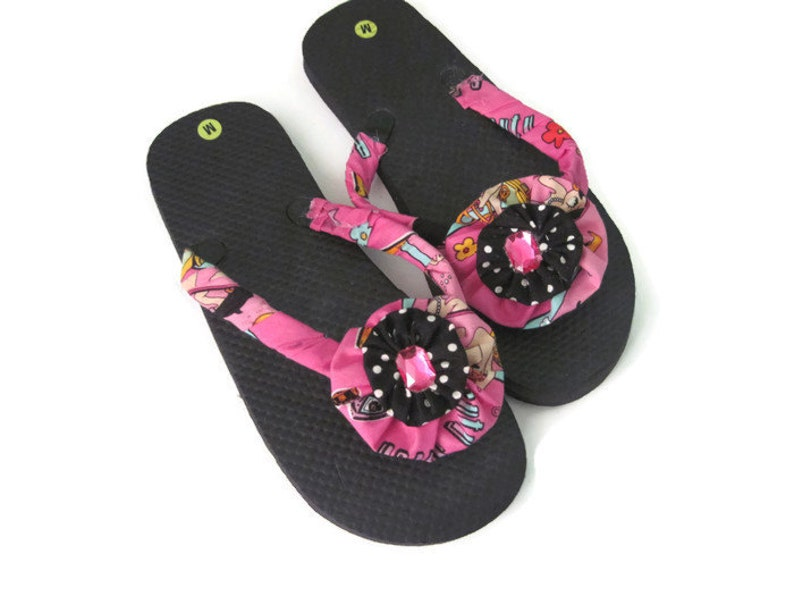 93426624d6ab5 Black Pink Decorated Flip Flops Summer Beach Pool