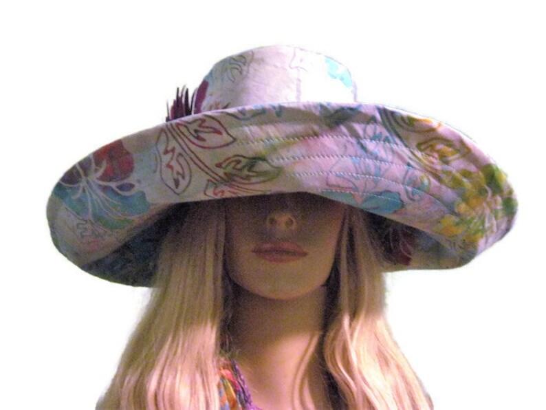 Blue Tropical Floral Batik Print Wide Brim Sun Hat