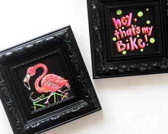 Bicycle Flamingo Wall Art, Hot Pink, Black Square Frame,