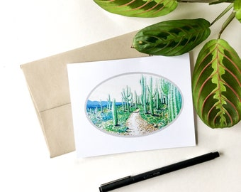 Sweetwater MTB Trails, A2 greeting card, snail mail, mountain bike trail