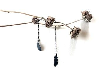 Tiny Feather Earrings, bike tube jewelry, vegan fashion, upcycle