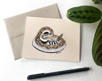 Rattlesnake Art Card, A2 greeting cards, Southwest creature, animal art