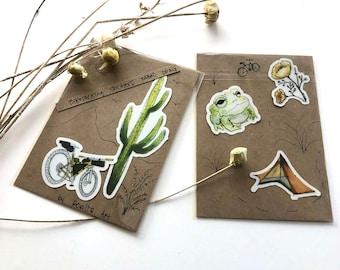 Bikepacking Sticker, CLEAR, Set of 5, Tucson, Babad Do'Ag Bikepacking Route, Tucson
