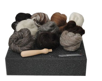 Heidifeathers Starter Needle Felting Kit - Natural Wool Tops